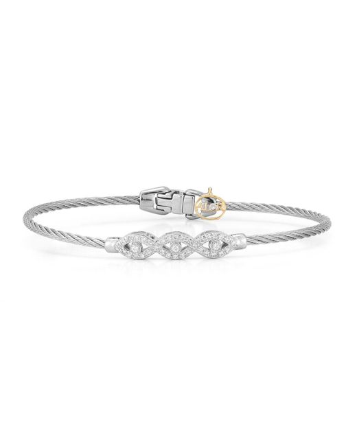 Alor - Gray 18k Gold Triple Diamond Cable Bangle - Lyst
