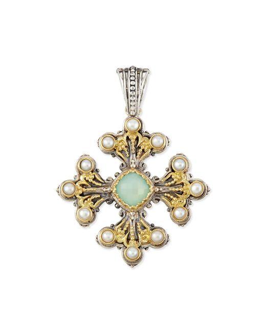 Konstantino   Sea Blue Agate & Pearl Cross Pendant   Lyst
