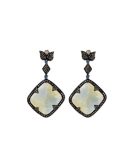 Bavna | Metallic Kite-shaped Sterling Silver Drop Earrings W/ Sapphire | Lyst