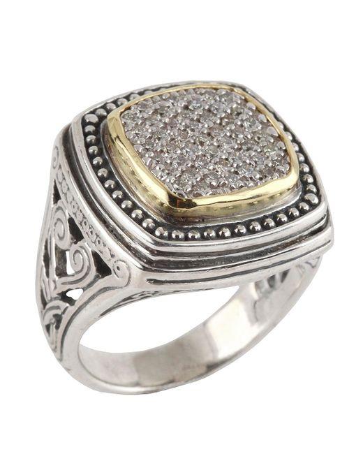 Konstantino - Metallic Asteri Ornate Square Pave White Diamond Ring - Lyst
