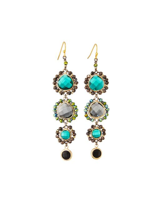 Nakamol - Green Graduated Crystal Drop Earrings - Lyst