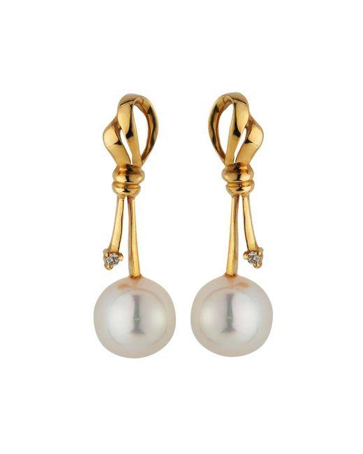 Belpearl | Metallic 14k Diamond & Pearl Knot Drop Earrings | Lyst