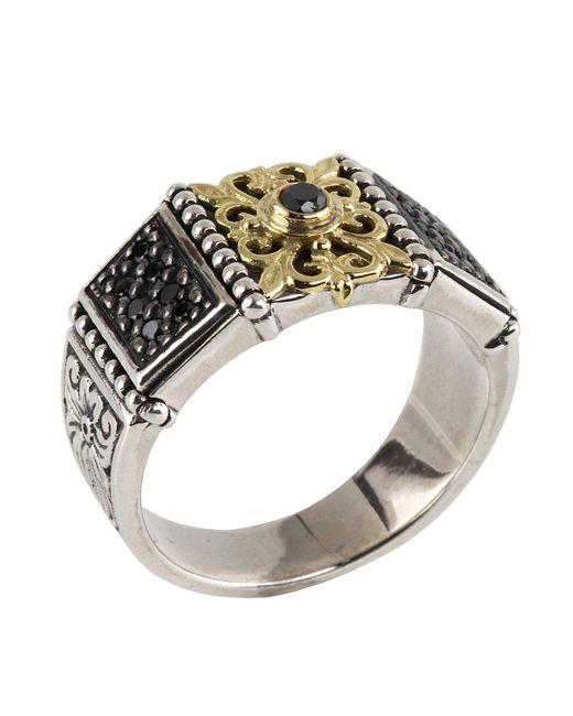 Konstantino   Metallic Asteri Floral Pave Black Diamond Band Ring   Lyst