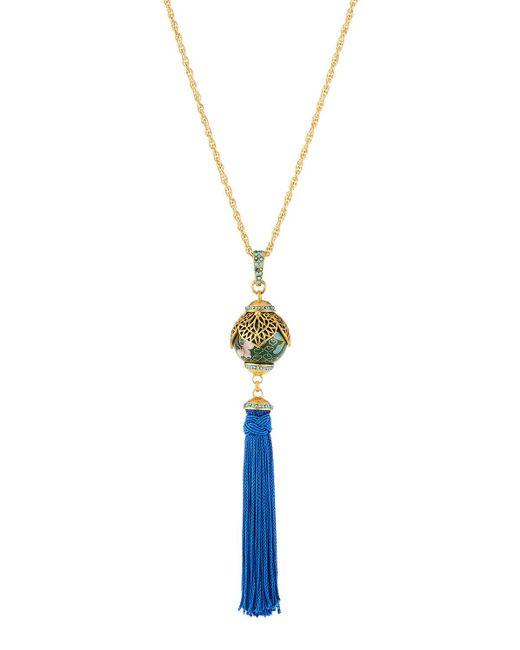 Jose & Maria Barrera - Blue Enamel Cloisonne Tassel Pendant Necklace - Lyst