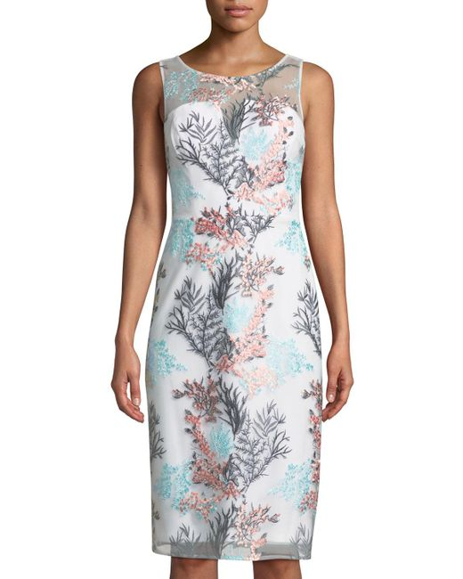 Nicole Miller - Blue Round-neck Sleeveless Bustier Floral-embroidered Cocktail Dress - Lyst