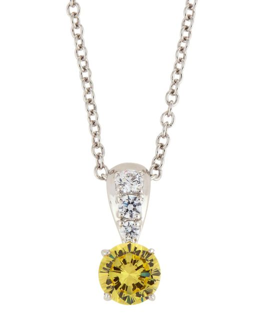 Fantasia by Deserio - Metallic Canary & White Cz Crystal Pendant Necklace - Lyst