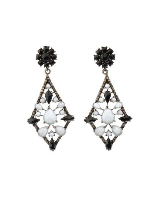 Bavna - Metallic Silver Kite Earrings With Champagne Diamonds - Lyst