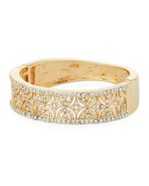 Kenneth Jay Lane | Metallic Wide Hinged Crystal Cuff Bracelet | Lyst