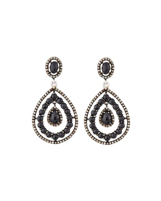 Bavna | Black Spinel & Diamond Drop Earrings | Lyst