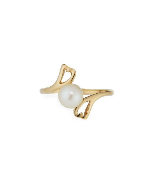 Belpearl   14k Yellow Gold Pearl Heart Bypass Ring   Lyst