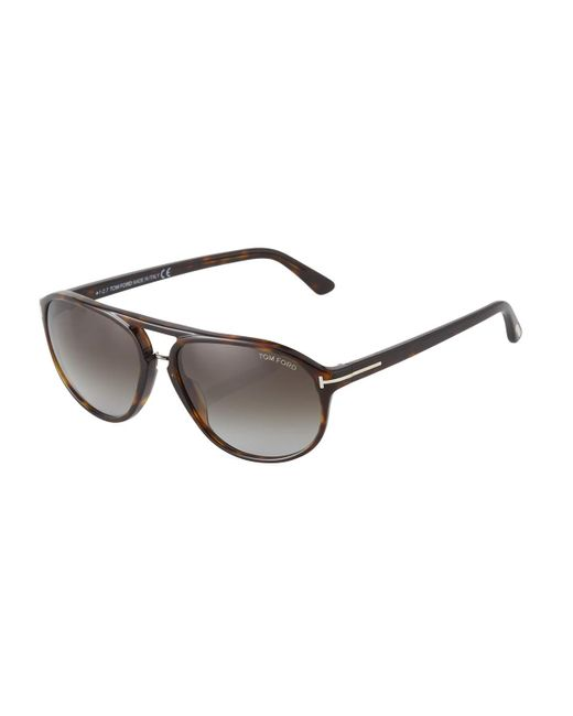 Tom Ford - Brown Oval Acetate Sunglasses - Lyst