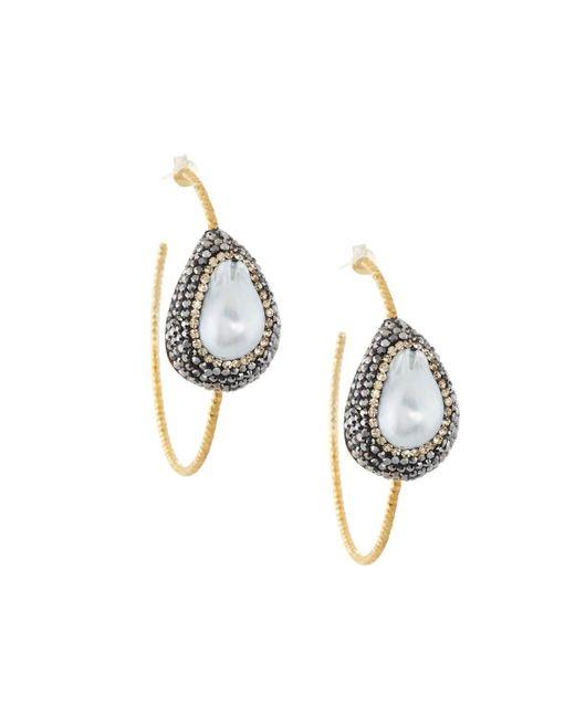 Native Gem | White Ilume Freeform Pearl Hammered Hoop Earrings | Lyst