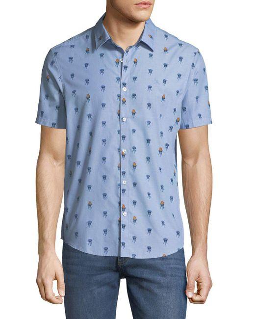 Original Penguin - Blue Men's Grillin Chambray Short-sleeve Sport Shirt for Men - Lyst