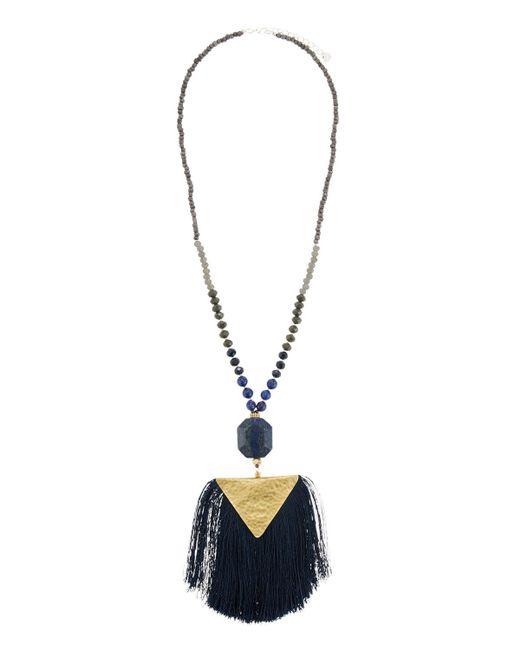 Nakamol - Blue Beaded Stone & Tassel Pendant Necklace - Lyst