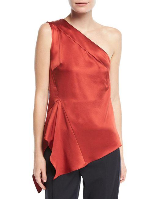 Narciso Rodriguez - Red One-shoulder Handkerchief-hem Silk Top - Lyst