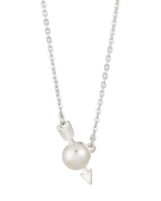 Majorica | White 6mm Simulated Pearl Arrow Pendant Necklace | Lyst