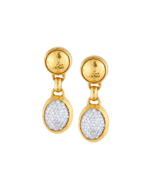Gurhan - Metallic Amulet 24k Pave Diamond Double-drop Earrings - Lyst