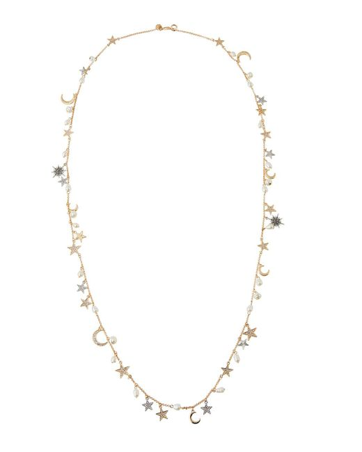 Lydell NYC | Multicolor Single Strand Necklace W/ Star & Moon Charms | Lyst