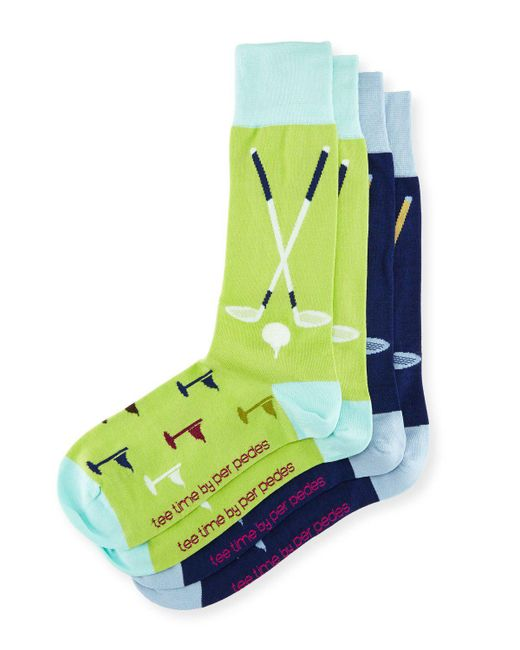 "Per Pedes | Green Two-pair ""tee Time"" Sock Set for Men 