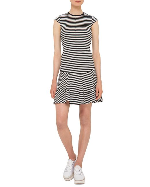 Akris Punto - Black Striped Cap-sleeve Flounce Dress - Lyst