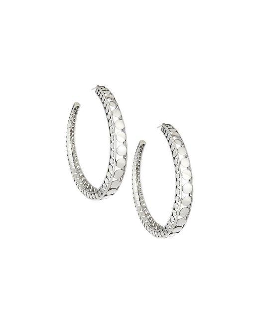 John Hardy - Metallic Dot Silver Open Hoop Earrings - Lyst