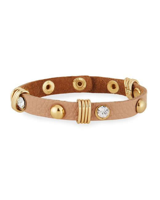 Nakamol | Natural Studded Leather Cuff Bracelet W/ Crystals | Lyst
