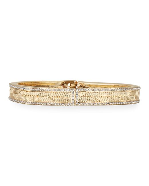 Lydell NYC - Multicolor Crystal-trim Hinge Bangle - Lyst