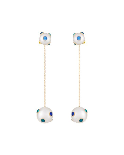 Lydell NYC - White Pearly Dangle Earrings W/ Crystals - Lyst
