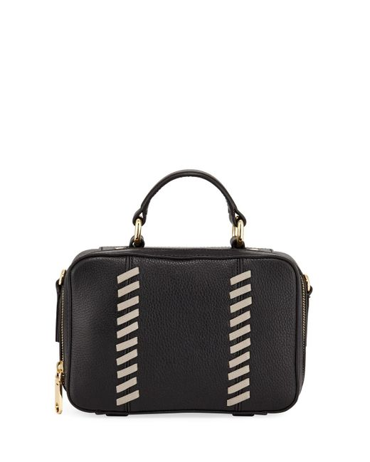 MILLY - Black Astor Small Whipstitch Satchel Bag - Lyst