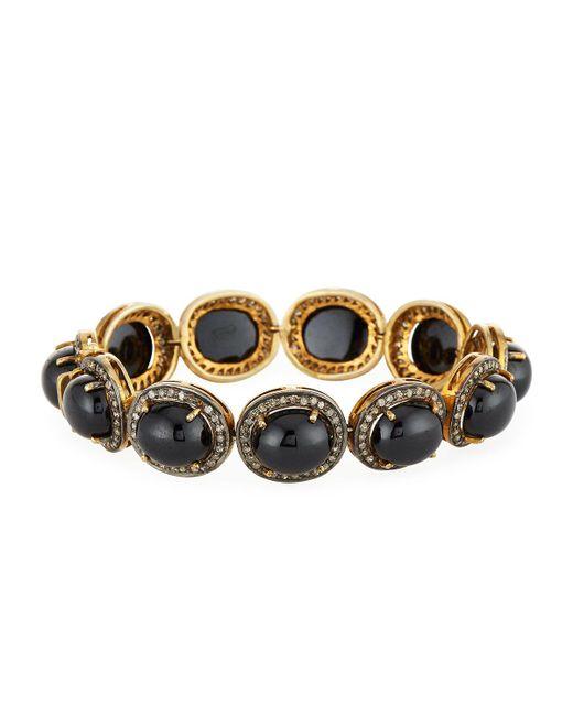 Bavna | Metallic Champagne Diamond & Black Onyx Cabochon Station Bracelet | Lyst