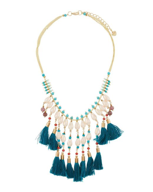 Nakamol - Blue Multi-tassel Pearly Statement Necklace - Lyst