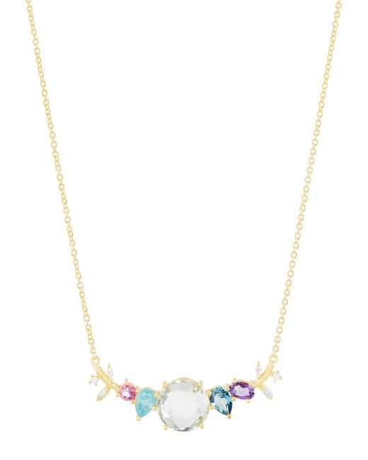 Indulgems   Metallic Mixed-stone Curved Bar Pendant Necklace W/ Green Amethyst   Lyst