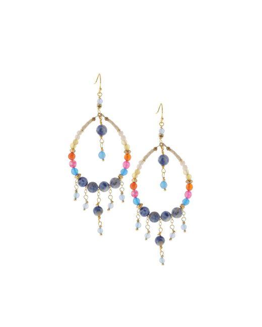 Nakamol | Blue Beaded Hoop Fringe Earrings | Lyst