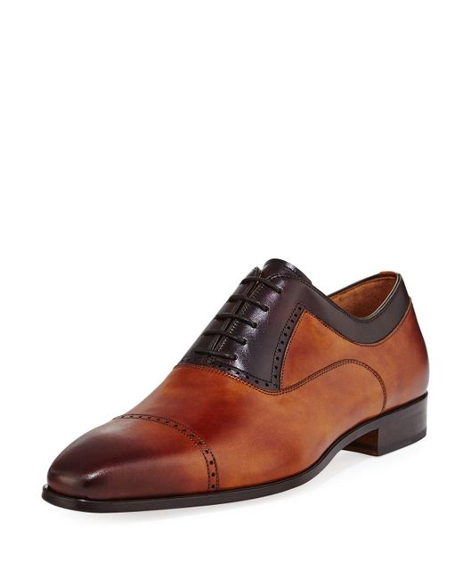 Neiman Marcus - Brown Leather Brogue Calf Leather Oxford for Men - Lyst