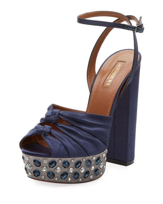 Aquazzura - Blue Party Plateau Satin 140mm Sandals Ink - Lyst