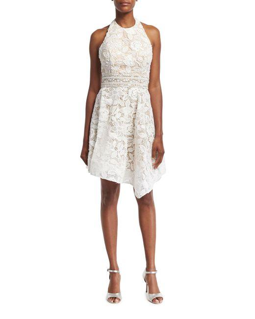 Jovani - White Lace Halter Asymmetric-hem Cocktail Dress - Lyst