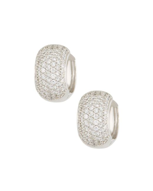 Roberto Coin - 18k White Gold Diamond Huggie Hoop Earrings - Lyst