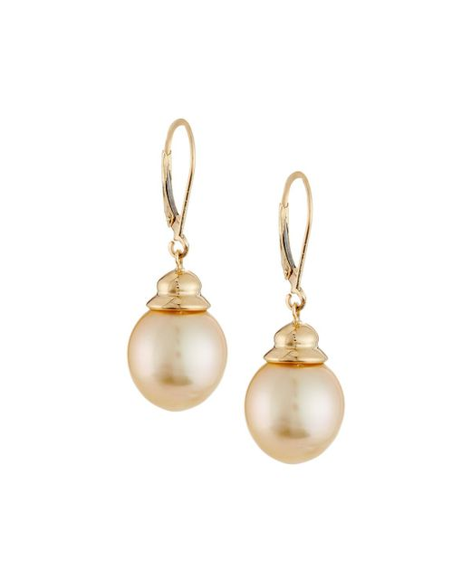 Belpearl | Metallic 14k Golden South Sea Pearl Drop Earrings | Lyst
