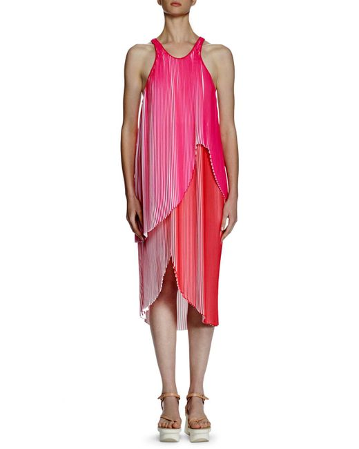 Stella McCartney - Pink Primrose Sleeveless Racerback Plisse Dress - Lyst
