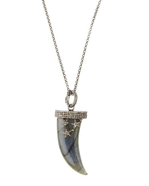 Bavna   Metallic Labradorite & Diamond Talon Pendant Necklace   Lyst
