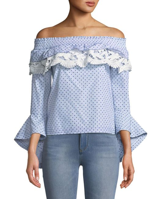 Red Carter - Blue Off-the-shoulder Cascading Bell-sleeve Blouse - Lyst
