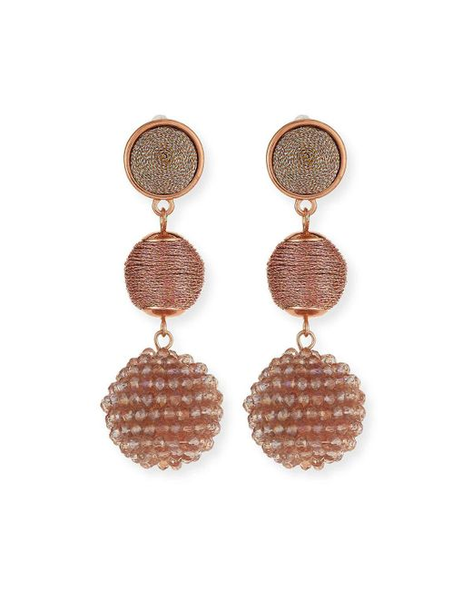 Lydell NYC | Pink Beaded Ball Drop Earrings | Lyst