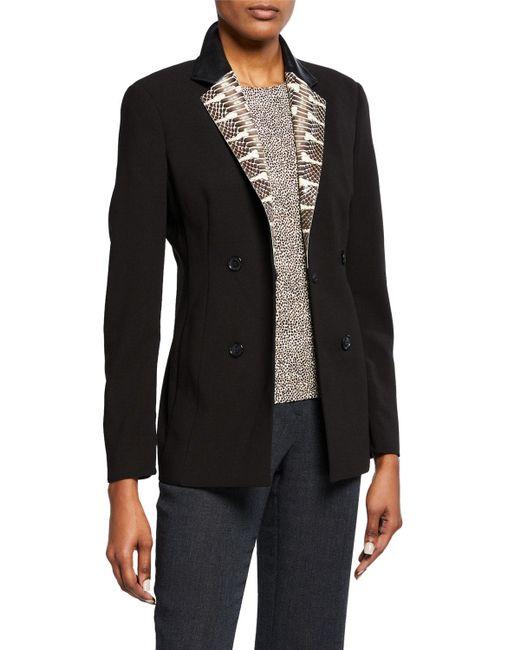 Akris - Brown Fernando Wool-blend Leather-lapel Jacket - Lyst