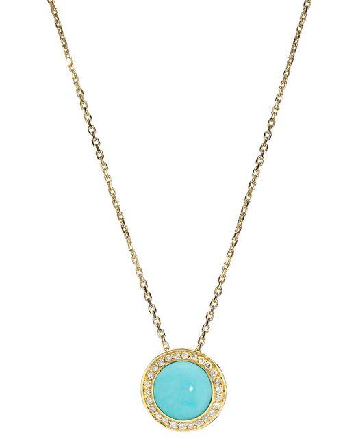 Elizabeth Showers   Metallic Audrey Turquoise Button Pendant Necklace   Lyst