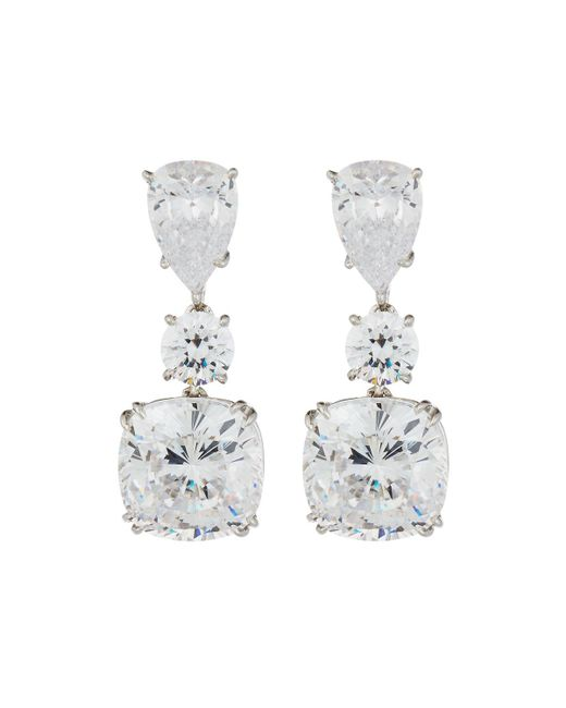 Fantasia by Deserio | Multicolor Large Cushion-cut Cz Dangle & Drop Earrings | Lyst