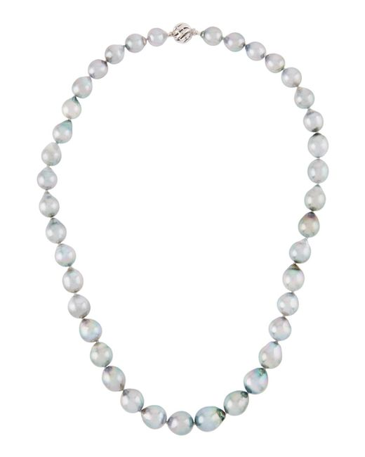 Belpearl - 14k White Gold Gray Tahitian Pearl Necklace - Lyst