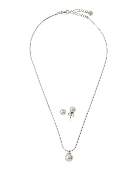 Majorica - White Pearl Pendant Necklace & Stud Earrings Set - Lyst