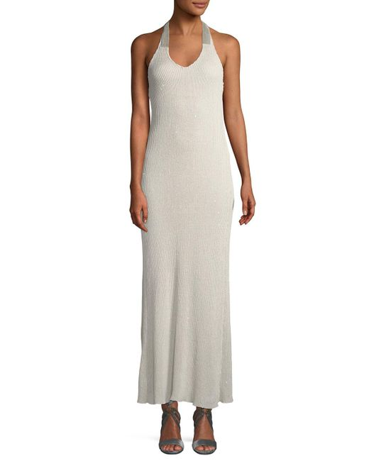 Brunello Cucinelli - Natural Monili-halter Backless Shimmer Gown - Lyst