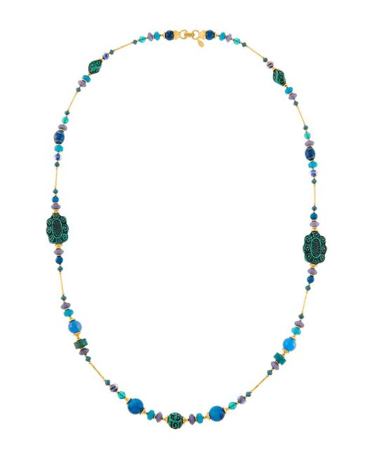 Jose & Maria Barrera - Blue Long Cinnabar & Agate Beaded Necklace - Lyst
