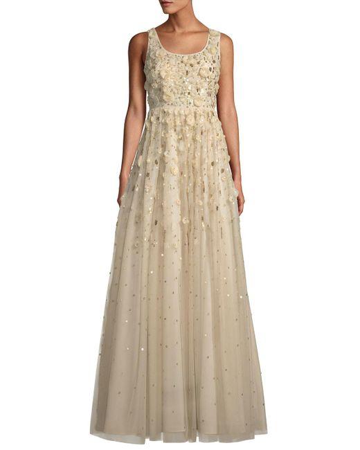 Aidan Mattox - Natural Rosette Beaded Gown - Lyst